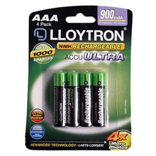 LLOYTRON RECHARGEABLE AAA - 4 PACK 900MAH
