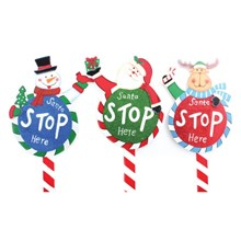 WOODEN SANTA STOP HERE SIGN
