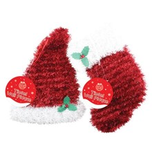 TINSEL WALL PLAQUE STOCKING & HAT