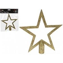 20 CM GLITTER TREE TOP - GOLD STAR