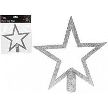 20 CM GLITTER TREE TOP - SILVER STAR