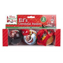 3PC ELF CHRISTMAS BAUBLES
