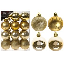 24PC CHRISTMAS BAUBLES - GOLD