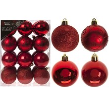 24PC CHRISTMAS BAUBLES - RED