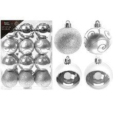 24PC CHRISTMAS BAUBLES - SILVER