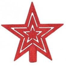STAR GLITTER TREE TOPPER - RED
