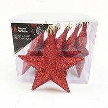 6PC STAR CHRISTMAS TREE DECORATIONS- RED