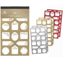 96PC FOIL GIFT LABEL - GOLD SILVER RED