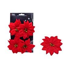 10CM POINSETTIA FLOWER - 4 PACK