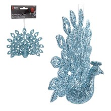HANGING DECORATION - PEACOCK - ICE BLUE