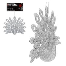 HANGING DECORATION - PEACOCK - SILVER