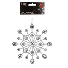 HANGING DECORATION - JEWELLED SNOWFLAKE - SILVER