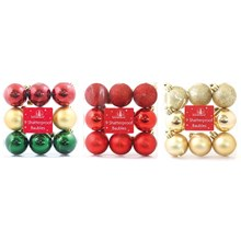 CHRISTMAS BAUBLES - 9PC 40MM TRADITIONAL - 3ASST
