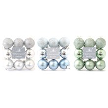 CHRISTMAS BAUBLES - 9PC 40MM FOREST FROST - 3ASST