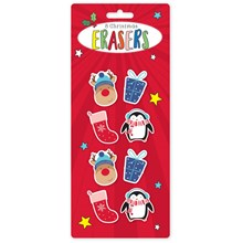 CHRISTMAS ERASERS - 8 PACK
