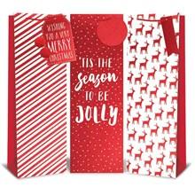 CHRISTMAS GIFT BAG - RED & WHITE FOIL BOTTLE SIZE