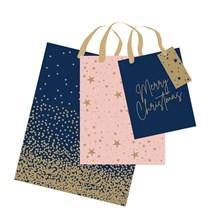 CHRISTMAS GIFT BAG - NAVY BLUSH S M L - 3 PACK