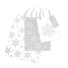 CHRSTMAS GIFT BAG - SILVER SNOWFLAKE S M L -3 PACK