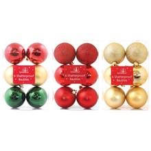 CHRISTMAS BAUBLES - 6PC 60MM TRADITIONAL - 3ASST