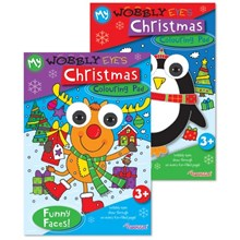 CHRISTMAS COLOURING PAD - WOBBLY EYES - 2 ASST