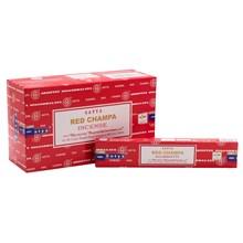SATYA - RED CHAMPA INCENSE STICKS - 15G X 12 PACK
