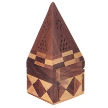 SHEESHAM WOOD INCENSE BURNER - PYRAMID