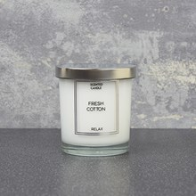 GLASS CANDLE W/ SILVER LID-1 WICK FRESH COTTON