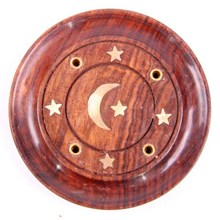 SHEESHAM WOOD ROUND ASHCATCHER - MOON&STARS