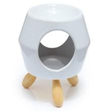 EDEN CERAMIC OIL BURNER W/ FEET - WHITE/GOLD