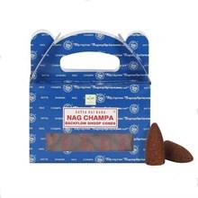 SATYA BACKFLOW DHOOP CONES - NAG CHAMPA - 6X24PK