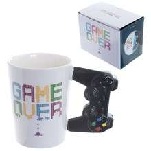 GAME OVER MUG WITH CONTROLLER SHAPED HANDLE