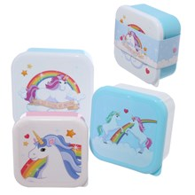 ENCHANTED RAINBOWS 3PC STACKABLE LUNCH BOXES