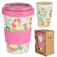 REUSABLE BAMBOO TRAVEL CUP - UNICORN 400ML