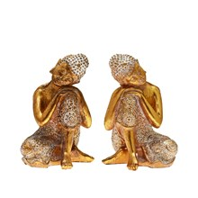 THAI BUDDHA - GOLD AND WHITE CONTEMPLATION 18CM