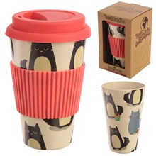 REUSABLE BAMBOO TRAVEL CUP W/ SILICONE LID - CAT
