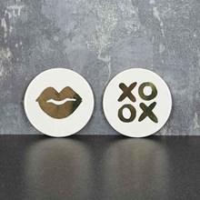 BONE CHINA COASTER - LIPS AND XO - 2ASST