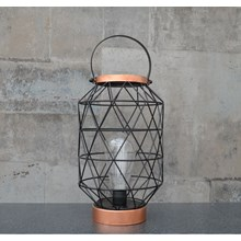 BATTERY OPERATED METAL LANTERN - OVAL