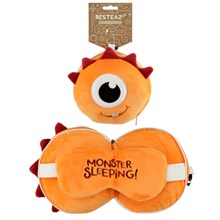 RESTEAZZZ PLUSH TRAVEL PILLOW & EYE MASK-ORANGE