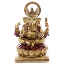 GOLD AND RED GANESH STATUE - 14CM