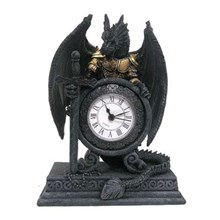 DRAGON IN ARMOUR MANTLE CLOCK