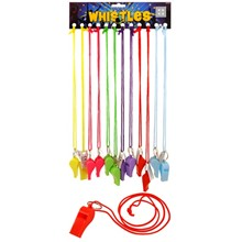 WHISTLE PLASTIC NEON 55MM - 12 PACK