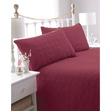 BEDSPREAD WITH 2 PILLOW SHAMS LEAF RED