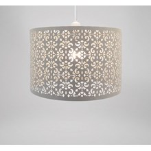 CHANDELIER LARGE METAL SHADE OATMEAL