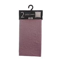 2PK EMBOSSED CUSHION COVERS - MAUVE