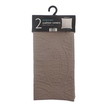2PK EMBOSSED CUSHION COVERS - LATTE