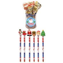 CHRISTMAS PENCILS WITH ERASER TOP - 24 PACK