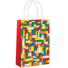 PAPER PARTY BAGS - BUILDING BRICKS - 24 PACK