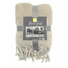 MICRO PLUSH THROW WITH TASSELS - NATURAL