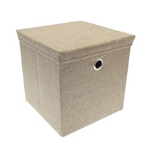 SQUARE STORAGE BOX WITH LID WEAVE DESIGN - STONE