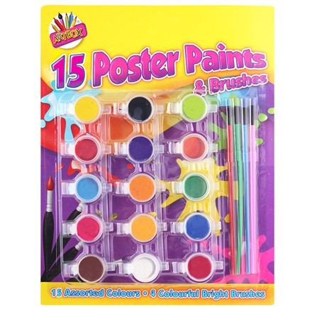 ARTBOX - POSTER PAINTS & BRUSHES - 15 PACK